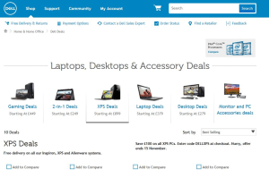 Preview 2 of the Dell website