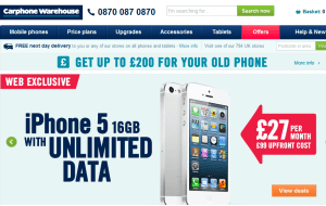 Preview 3 of the Carphone Warehouse website