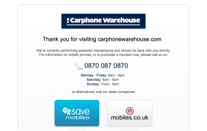 Preview 2 of the Carphone Warehouse website