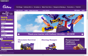 Preview 2 of the Cadbury Gifts Direct website