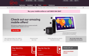 Preview 2 of the Virgin Mobile website