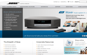 Preview 2 of the Bose website
