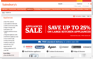 Preview 2 of the Sainsburys Kitchen Appliances website