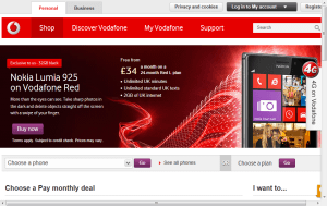 Preview 3 of the Vodafone website