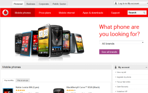 Preview 2 of the Vodafone website