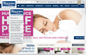 Preview 2 of the Dreams Beds website