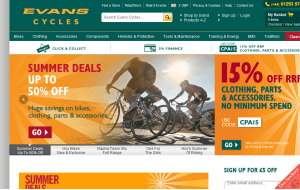 Preview 3 of the Evans Cycles website
