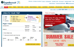 Preview 3 of the Expedia website