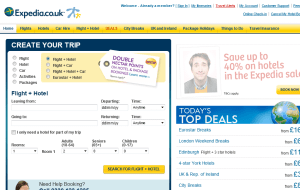 Preview 2 of the Expedia website