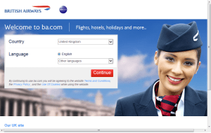 Preview 3 of the British Airways website