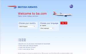 Preview 2 of the British Airways website