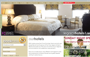 Preview 3 of the Legacy Hotels website