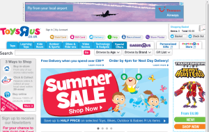 Preview 3 of the Toys R Us website