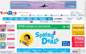 Preview 2 of the Toys R Us website