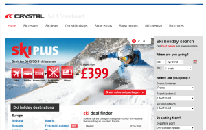 Preview 2 of the Crystal Ski Holidays website