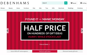 Preview 2 of the Debenhams website
