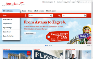Preview 3 of the Austrian Airlines website