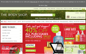 Preview 3 of the Body Shop website