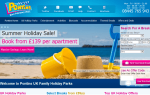 Preview 3 of the Pontins Holidays website