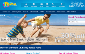 Preview 2 of the Pontins Holidays website