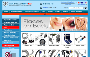 Preview 2 of the Body Jewellery Shop website