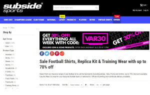 Preview 2 of the Subside Sports website
