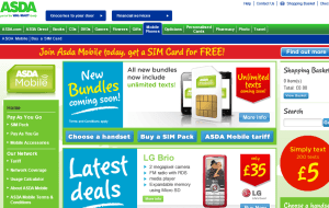 Preview 2 of the ASDA Mobile website