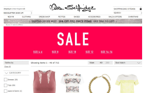 Preview 3 of the Miss Selfridge website