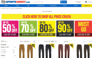 Preview 6 of the Sports Direct website