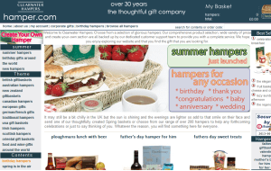 Preview 3 of the Hampers.com website