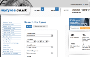 Preview 3 of the My Tyres website