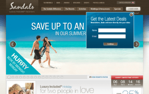 Preview 3 of the Sandals website