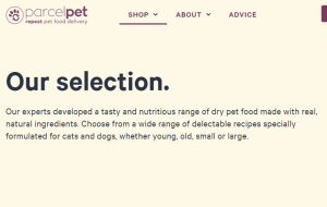 Preview 2 of the Parcel Pet website