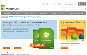Preview 2 of the Microsoft Store website