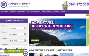 Preview 3 of the G Adventures website