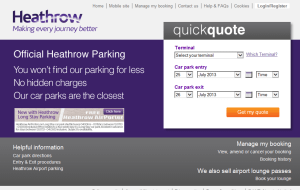 Preview 2 of the Heathrow Airport Parking website
