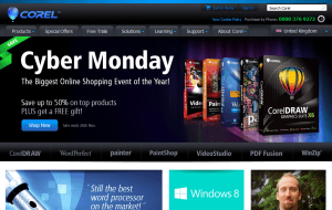 Preview 2 of the Corel website