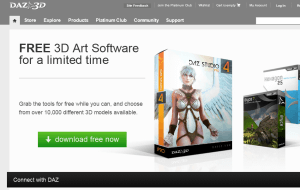 Preview 2 of the DAZ 3D website