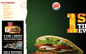 Preview 2 of the Burger King website