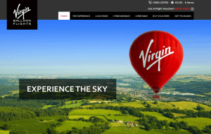 Preview 2 of the Virgin Balloon Flights website