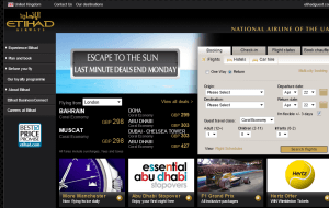 Preview 2 of the Etihad Airways website