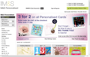 Preview 3 of the Marks & Spencer Personalised Cards website