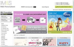 Preview 2 of the Marks & Spencer Personalised Cards website