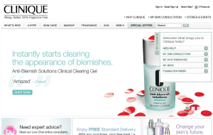 Preview 2 of the Clinique website