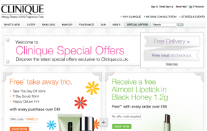 Preview 3 of the Clinique website