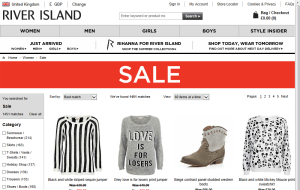 Preview 2 of the River Island website