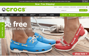 Preview 3 of the Crocs website