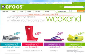 Preview 2 of the Crocs website