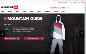 Preview 2 of the Quiksilver website