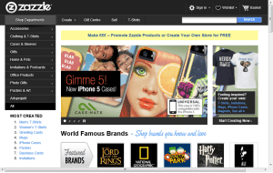 Preview 3 of the Zazzle website